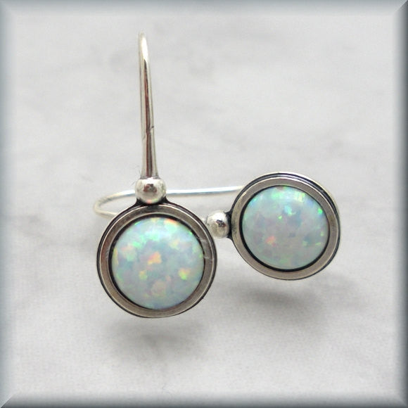 White Opal Earrings - October Birthstone