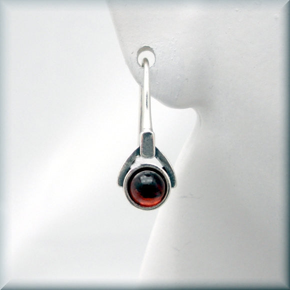 Garnet Gemstone Drop Earrings - January Birthstone - Bonny Jewelry