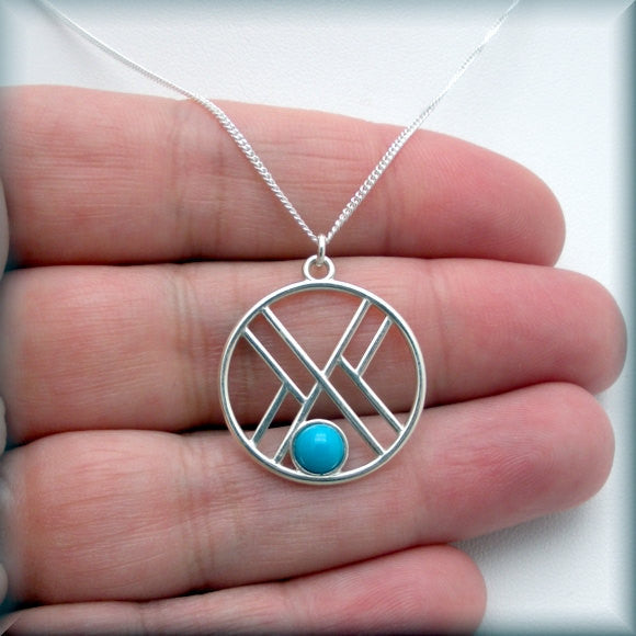 Geometric Sleeping Beauty Turquoise Necklace - Gemstone Jewelry - Bonny Jewelry
