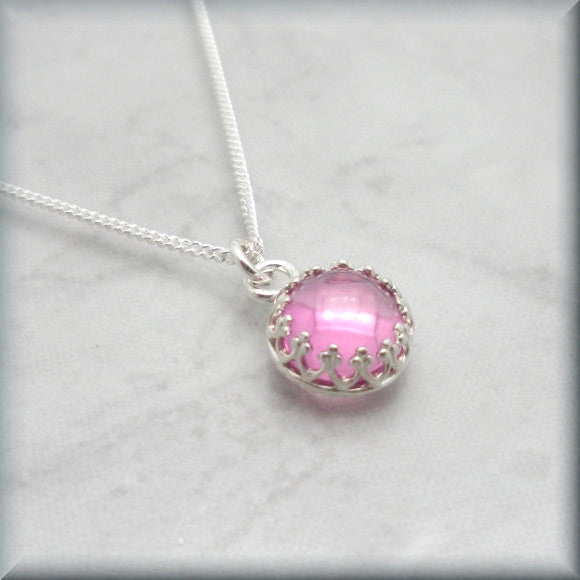 Pink Sapphire Necklace - Cabochon Gemstone Jewelry