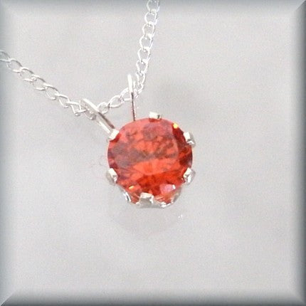 Orange Cubic Zirconia Necklace Bonny Jewelry