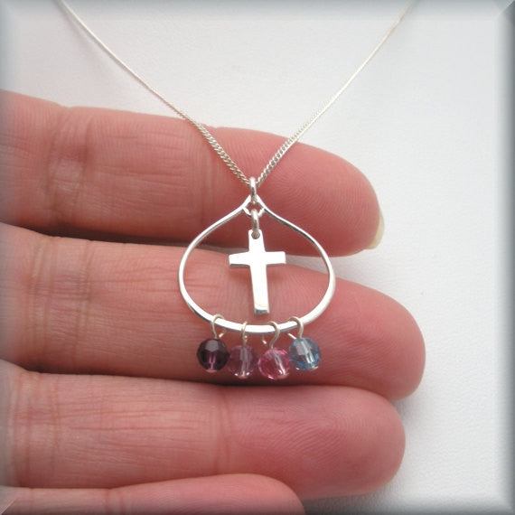Cross Teardrop Necklace - Mothers Birthstone Jewelry - Bonny Jewelry
