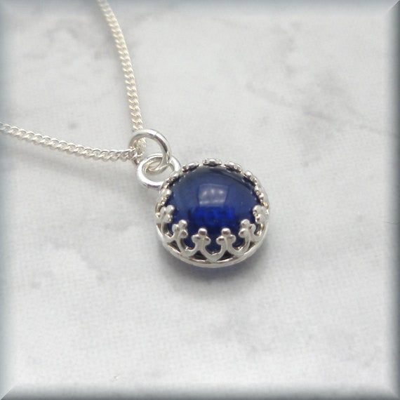 Blue Sapphire Necklace - September Birthstone Jewelry - Bonny Jewelry