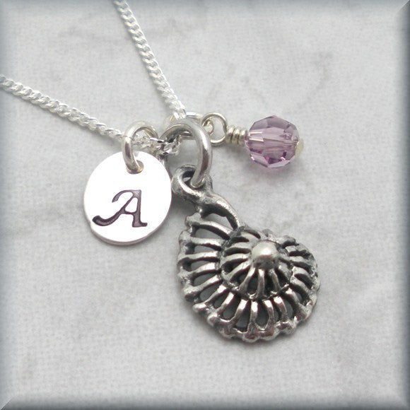 Nautilus Sea Shell Birthstone Necklace - Personalized - Beach Jewelry