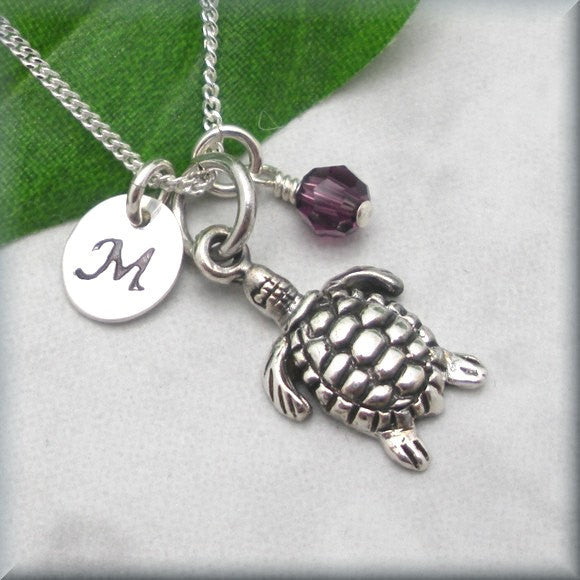 Sea Turtle Birthstone Necklace - Personalized - Beach Jewelry