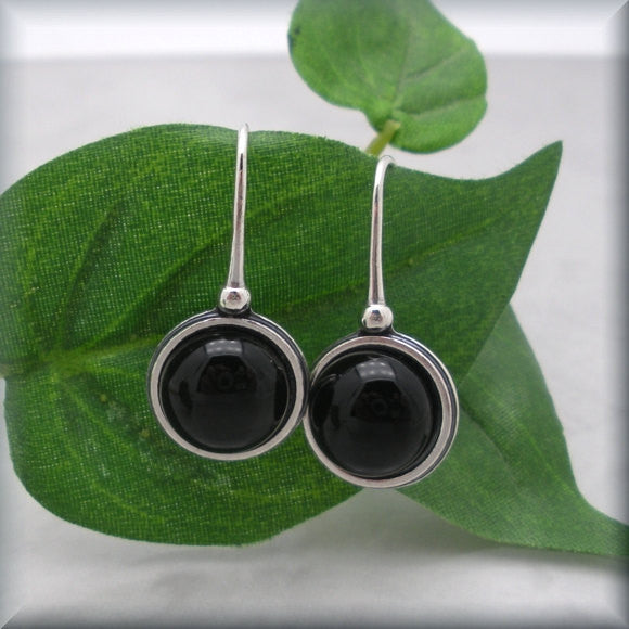 Black Onyx Cabochon Earrings - Sterling Silver