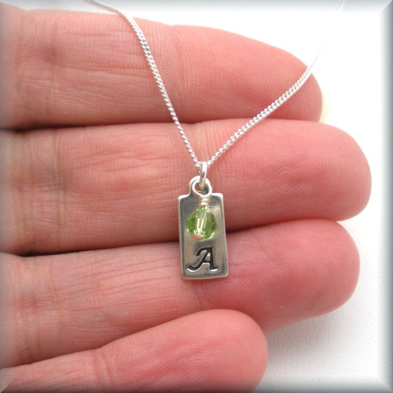 Personalized Silver Bar Necklace - Birthstone Jewelry - Bonny Jewelry