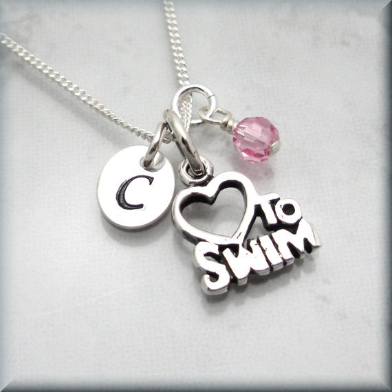 Love to Swim Necklace - Personalized Birthstone Jewelry