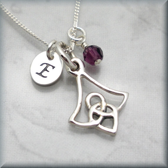 Irish Flower Celtic Birthstone Necklace - Personalized Irish Jewelry
