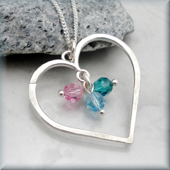 Hammered Heart Birthstone Necklace - Mothers Birthstone Jewelry - Bonny Jewelry