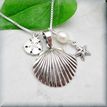 Seashell, Starfish, and Sanddollar Necklace - Beach Jewelry - Summer Necklace