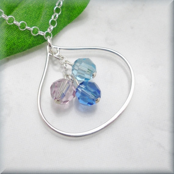 Mothers Birthstone Teardrop Necklace - Keepsake Jewelry