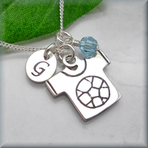 Soccer Jersey Sports Birthstone Necklace - Personalized Charm Jewelry - Bonny Jewelry