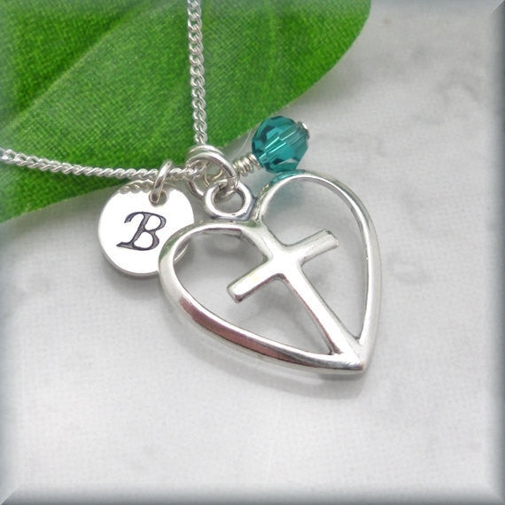 Heart and Cross Necklace - Personalized - Handstamped