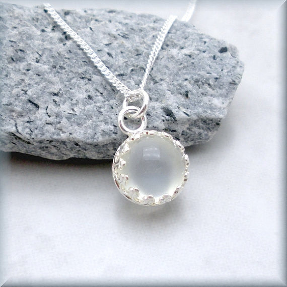 White Moonstone Necklace - Gemstone Jewelry - June Birthstone - Bonny Jewelry