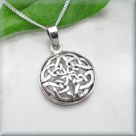 Round Celtic Shield Knot Necklace - Irish Jewelry