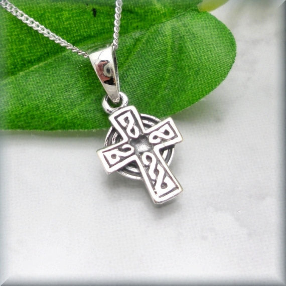 Rustic Celtic Cross Necklace - Irish Jewelry