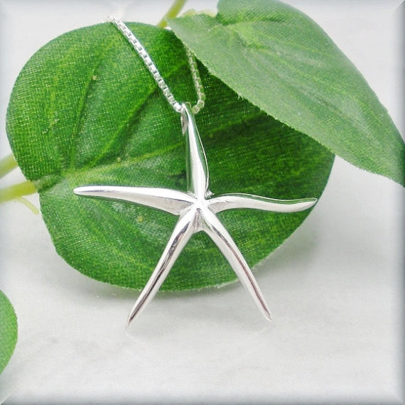 Sterling Silver Starfish Necklace - Sea Star - Summer Jewelry - Bonny Jewelry
