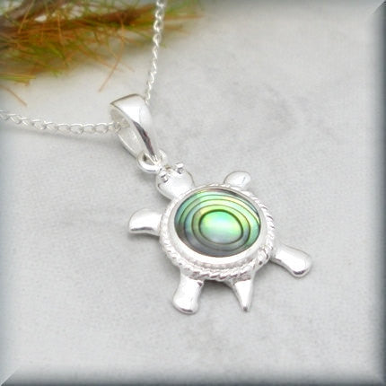 Abalone Sea Turtle Necklace - Beach Jewelry