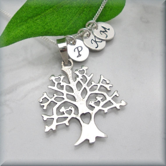 Tree of Life Mothers Necklace - Family Tree - Handstamped