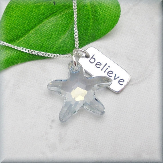 Crystal Starfish Necklace - Believe - Inspirational