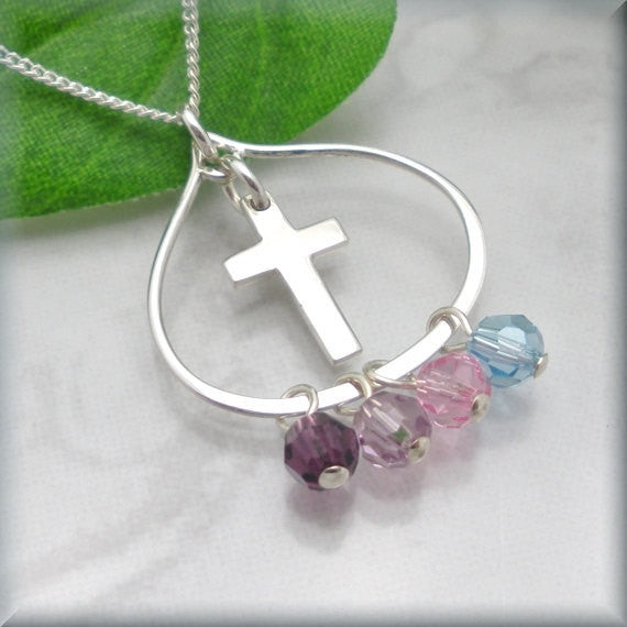 Cross Teardrop Necklace - Mothers Birthstone Jewelry