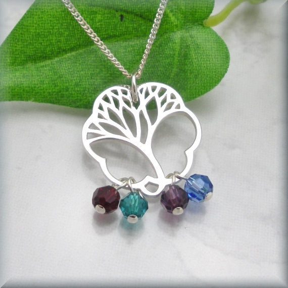 Family Tree Necklace - Moms Birthstone Jewelry - Bonny Jewelry