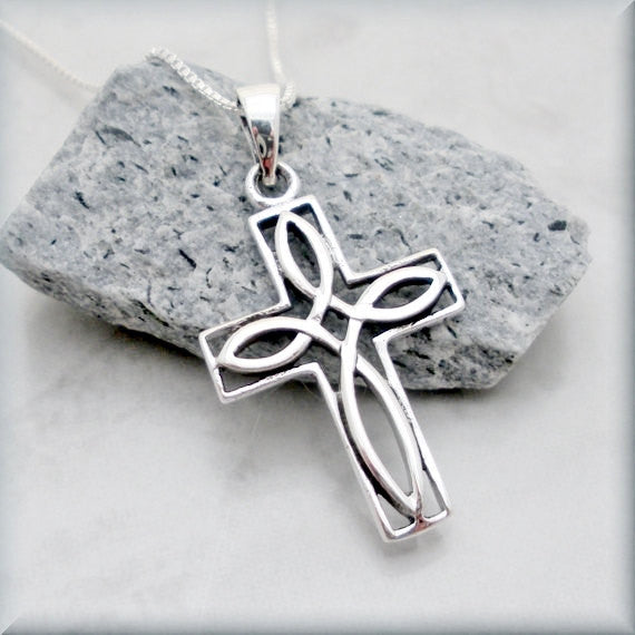 Outlined Celtic Knot Cross Necklace - Irish Jewelry