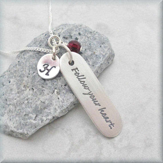 Follow Your Heart Necklace - Inspirational Jewelry - Personalized Birthstone - Bonny Jewelry
