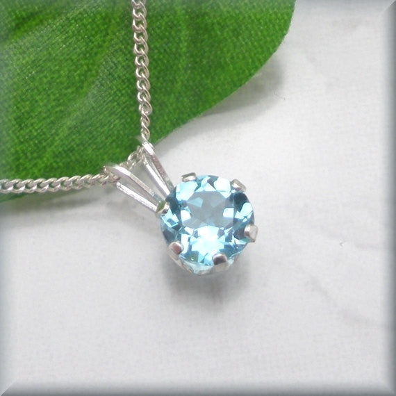 Swiss Blue Topaz Necklace - Gemstone Jewelry - Bonny Jewelry