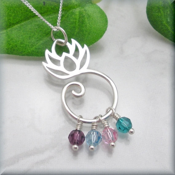 Lotus Flower Mothers Birthstone Necklace - Keepsake Family Jewelry - Bonny Jewelry