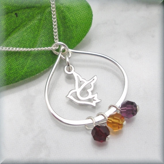 Dove Mothers Birthstone Necklace - Family Jewelry