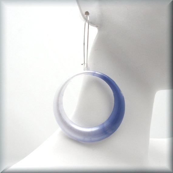 Purple Lucite Lightweight Hoop Earrings - Bonny Jewelry