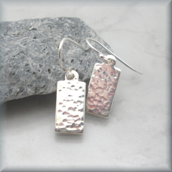 Small Rectangle Hammered Earrings