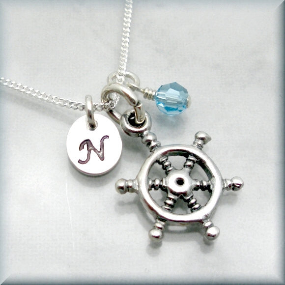 Captains Wheel Birthstone Necklace - Personalized Beach Jewelry