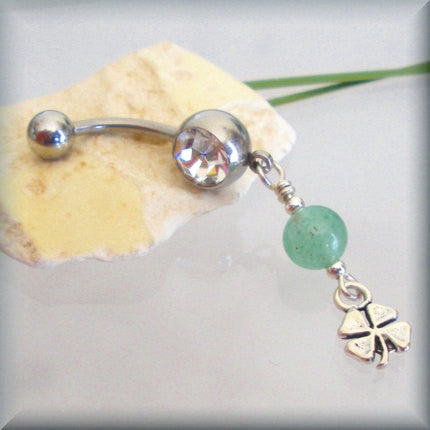 Shamrock Belly Ring - Four Leaf Clover - Bonny Jewelry
