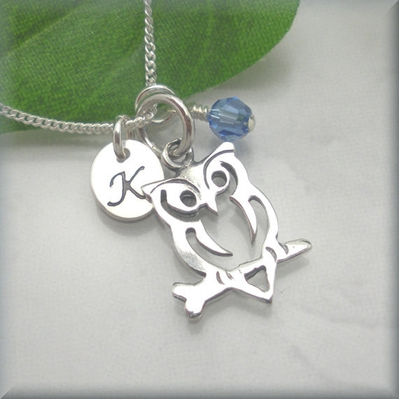 Owl Birthstone Necklace - Personalized Jewelry - Handstamped - Bonny Jewelry