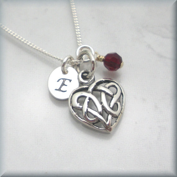 Celtic Heart Birthstone Necklace - Personalized Irish Jewelry