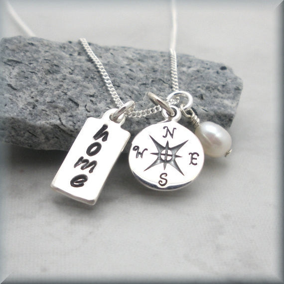 Compass Travel Necklace - All Roads Lead Home - Inspirational Jewelry Bonny Jewelry