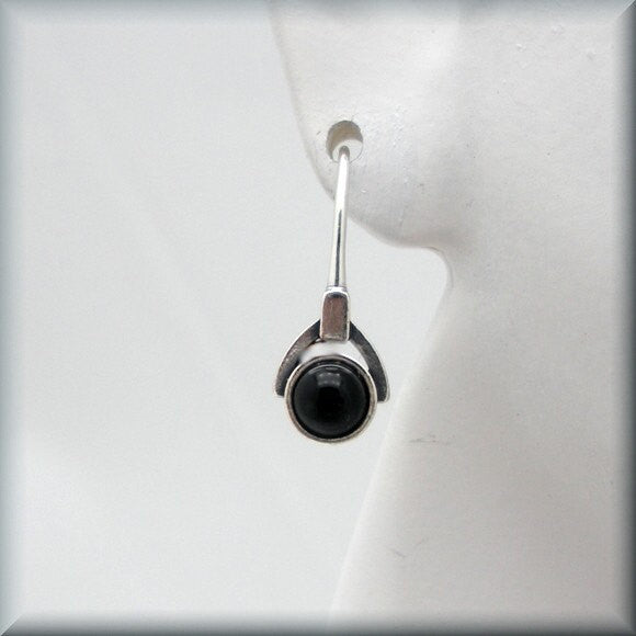 Small Black Onyx Drop Earrings - Gemstone - Bonny Jewelry