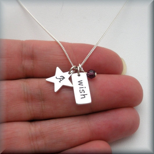 Wish Upon a Star Birthstone Necklace - Inspirational Jewelry - Bonny Jewelry