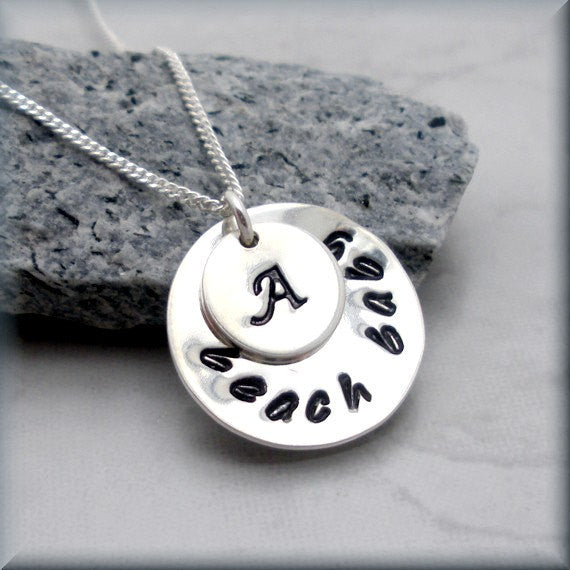 Beach Baby Necklace - Personalized - Handstamped Bonny Jewelry