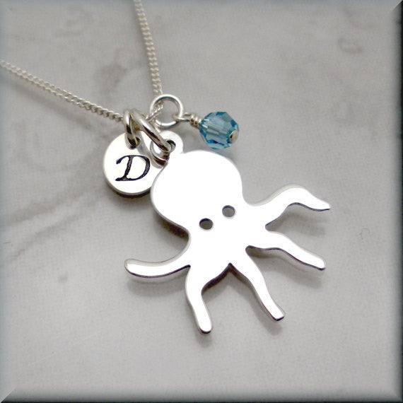 Octopus Birthstone Necklace - Personalized - Handstamped - Bonny Jewelry