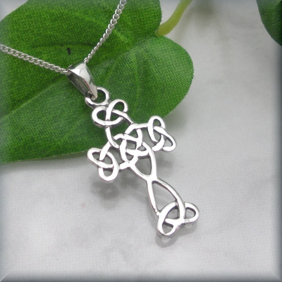 Irish Celtic Cross Necklace with Flourishes - Bonny Jewelry