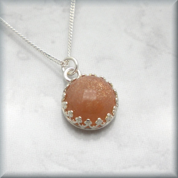 Peach Sunstone Necklace - Gemstone Jewelry - Bonny Jewelry