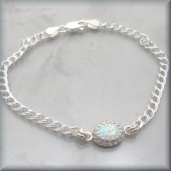 White Opal Bracelet - October Birthstone - Bonny Jewelry