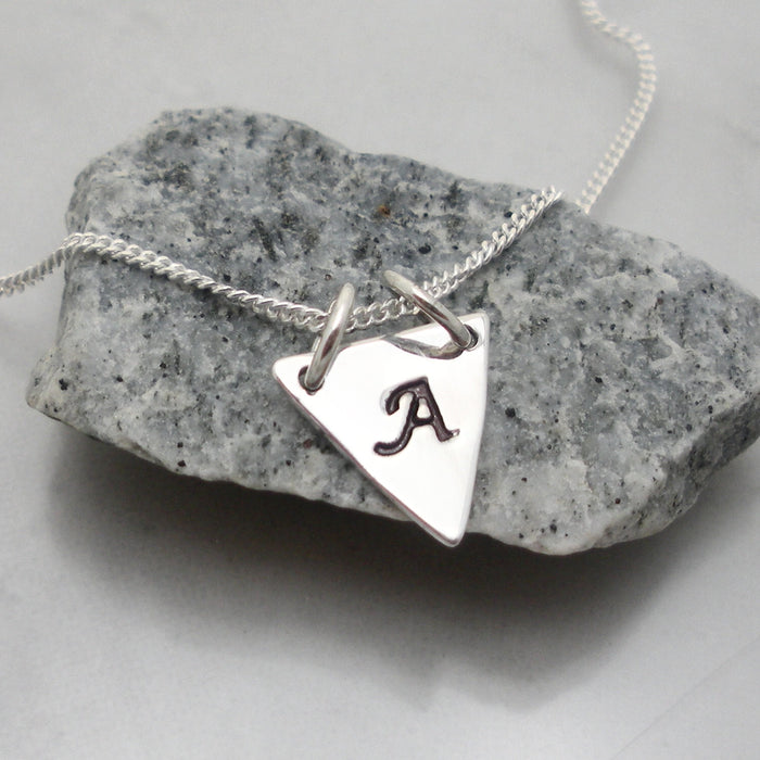 Geometric Triangle Necklace - Layering Necklace - Initial Charm - Bonny Jewelry