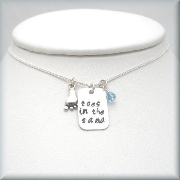 Toes in the Sand Necklace - Beach Jewelry - Handstamped - Bonny Jewelry