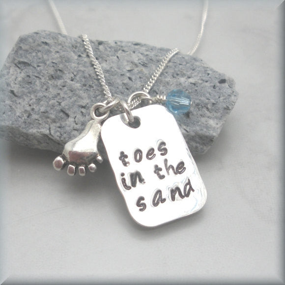 Toes in the Sand Necklace - Beach Jewelry - Handstamped
