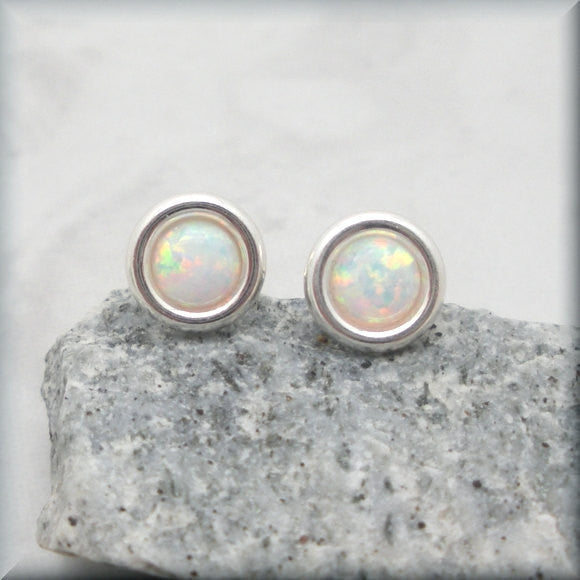 White Opal Cabochon Post Earrings - October Birthstone - Bonny Jewelry